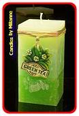 Grune Tee Kerze, Quadra Kerze, H: 14 cm