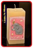 Elefant Kerze PINK, H: 15 cm