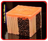 Kaffee / Bamboo Kerze, Orange - 11x11 cm H: 10 cm