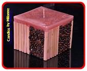 Koffie bamboe kaars BORDEAUX - 11x11 cm H: 10 cm