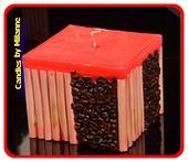 Koffie bamboe kaars ROOD - 11x11 cm H: 10 cm
