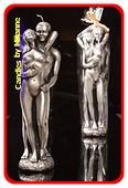 Vrouw en Man kaars, H: 29 cm, ZILVER