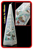 Winterkerze BLAU, Pyramide 33 cm