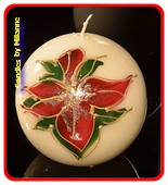 Roten Blumen, Kugel Kerze, Ø 10 cm