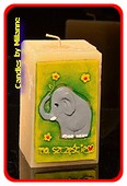 Elefant Kerze GRÜN, H: 15 cm