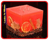 Fruit Kaars Vierkant Groot ROOD, 4 PITTEN H:11,5 cm