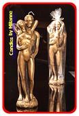 Vrouw en Man kaars, H: 29 cm, GOUD