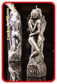 Vrouw en Man kaars, H: 25 cm, ZILVER