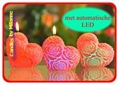 Hart kaars met LED, H: 10 cm, WIT-