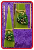 Groene thee kaars, Piramide, H: 24 cm