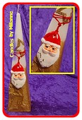 Kerstmanpiramide, GOUD/WIT, H: 30 cm