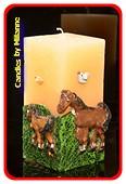 Pferde Kerze, Quadra, CREME,150x75 mm,