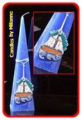 Meeres Kerze BLAU, mit Fischerboot, pyramide 30 cm