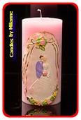 Hochzeit Kerze, PINK, 75x150 mm