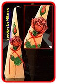 Rose ROT Kerze, Pyramide, 30 cm