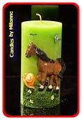 Paarden kaars, Rond, GROEN, 150x75 mm