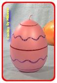 Paasei Kaars XXL, roze, H15 cm, breedte: 10 cm
