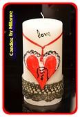 Love Kerze, Stumpe, 7,5 cm, H: 15 cm