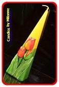 Tulpe Kerze, Pyramide, 24 cm GELB-GRÜN