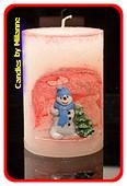 Sneeuwman winterkaars, hoogte: 10,5 cm ROOD - Kerst