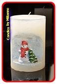 Sneeuwman winterkaars, hoogte: 10,5 cm BLAUW - Kerst